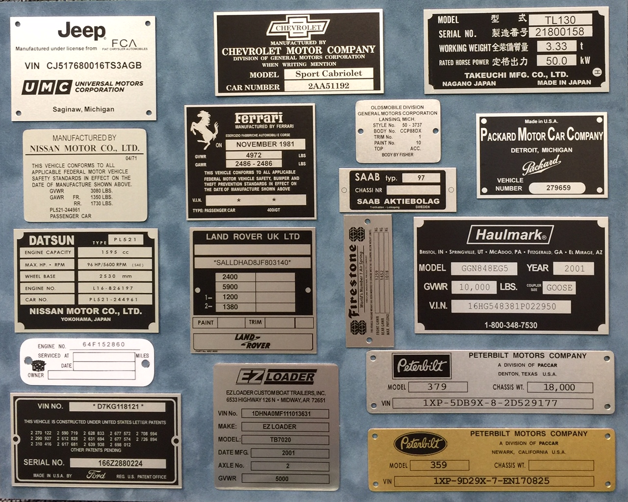 Replacement VIN Tags - Vehicle Identification Numbers Tag
